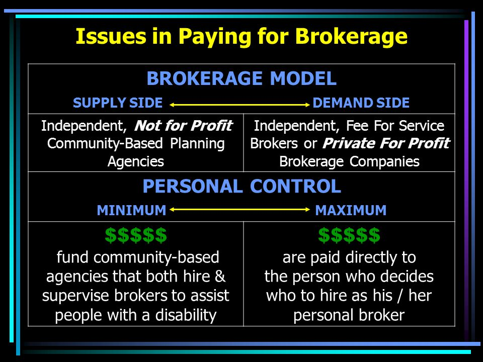 Issues in Paying for Brokerage BROKERAGE MODEL SUPPLY SIDE DEMAND SIDE Independent, Not for Profit Community-Based Planning Agencies Independent, Fee For Service Brokers or Private For Profit Brokerage Companies PERSONAL CONTROL MINIMUM MAXIMUM $$$$$ fund community-based agencies that both hire & supervise brokers to assist people with a disability $$$$$ are paid directly to the person who decides who to hire as his / her personal broker