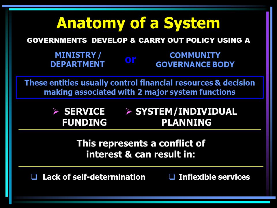 Anatomy of a System GOVERNMENTS DEVELOP & CARRY OUT POLICY USING A These entities usually control financial resources & decision making associated with 2 major system functions MINISTRY / DEPARTMENT COMMUNITY GOVERNANCE BODY This represents a conflict of interest & can result in:  Inflexible services  Lack of self-determination  SERVICE FUNDING  SYSTEM/INDIVIDUAL PLANNING or