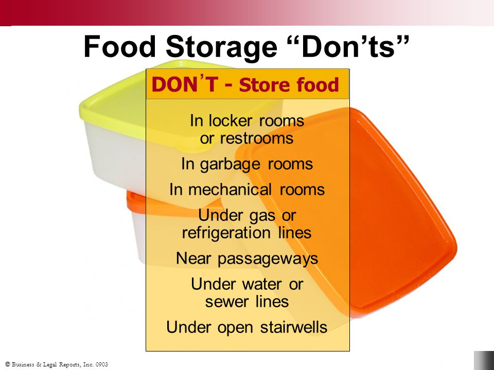 "Food Storage ""Don'ts"" DON᾽T - Store food In locker rooms or restrooms In garbage rooms In mechanical rooms Under gas or refrigeration lines Near passa"