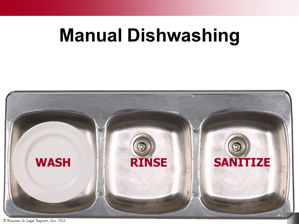 © Business & Legal Reports, Inc. 0903 Manual Dishwashing WASH Scrape off leftover food Wash in solution at 110ºF Rinse in clean warm water Immerse in