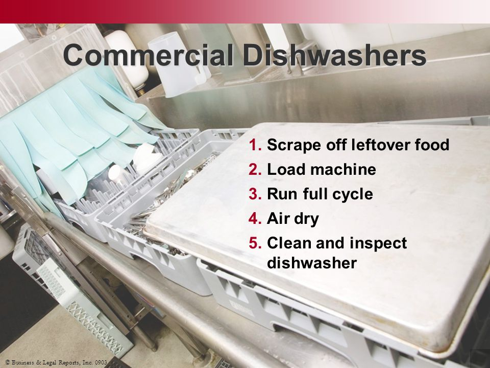 Commercial Dishwashers 1.Scrape off leftover food 2.Load machine 3.Run full cycle 4.Air dry 5.Clean and inspect dishwasher © Business & Legal Reports,