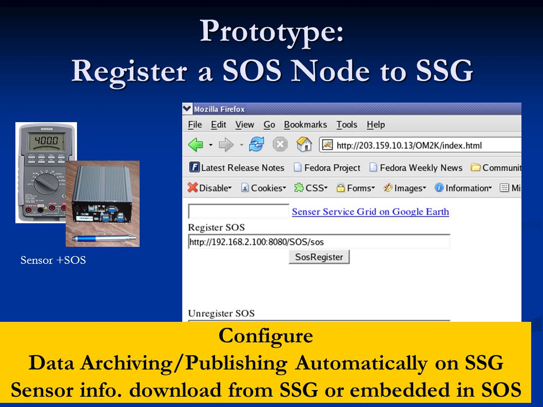 Prototype: Register a SOS Node to SSG Sensor +SOS Configure Data Archiving/Publishing Automatically on SSG Sensor info.