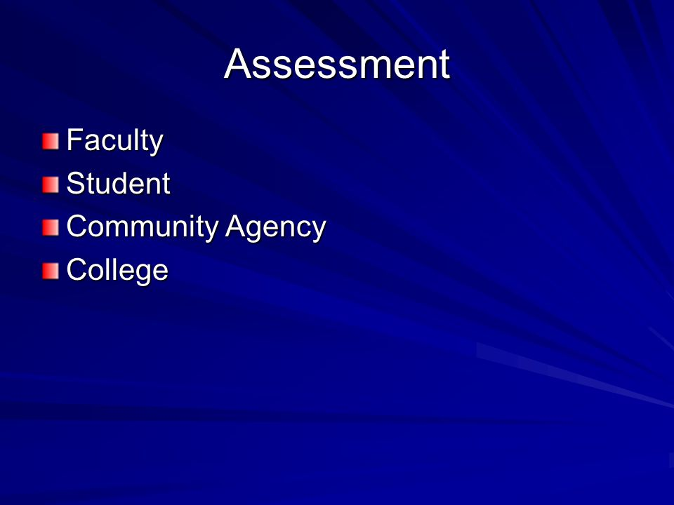 Assessment FacultyStudent Community Agency College