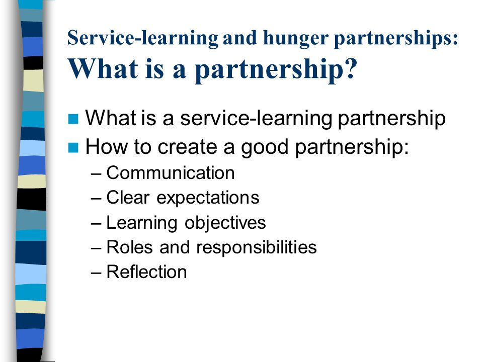 Service-learning and hunger partnerships: What is a partnership.