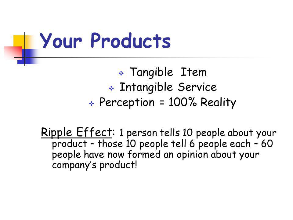 Your Products  Tangible Item  Intangible Service  Perception = 100% Reality Ripple Effect: 1 person tells 10 people about your product – those 10 people tell 6 people each – 60 people have now formed an opinion about your company's product!