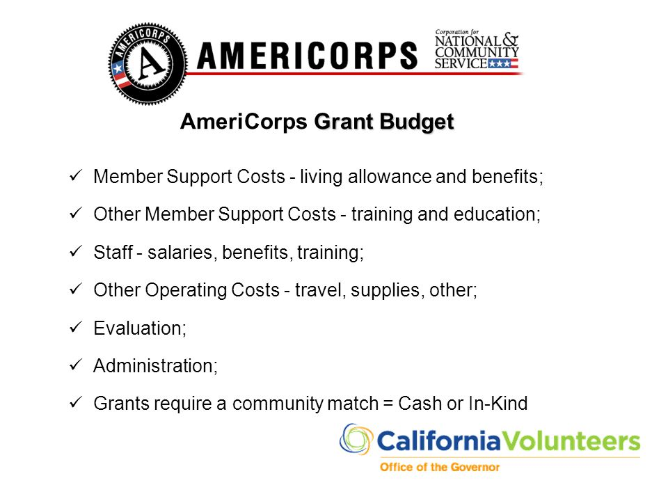 Grant Budget AmeriCorps Grant Budget Member Support Costs - living allowance and benefits; Other Member Support Costs - training and education; Staff