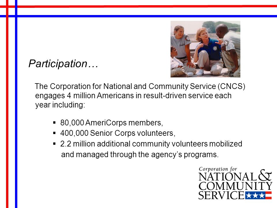 CNCS Agency wide Priority Measures Disaster Services Economic Opportunity Education Veterans & Military Families Environmental Stewardship Healthy Futures