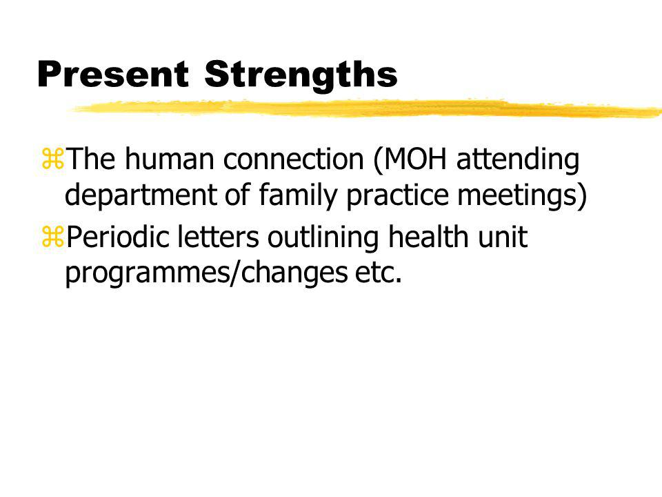 Present Strengths zThe human connection (MOH attending department of family practice meetings) zPeriodic letters outlining health unit programmes/changes etc.