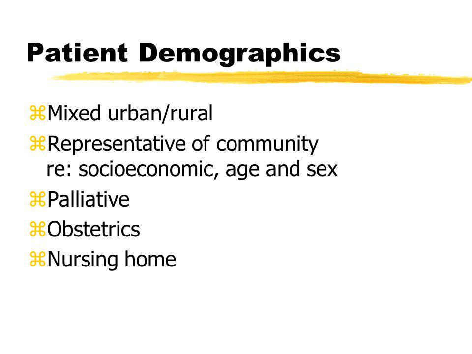Patient Demographics zMixed urban/rural zRepresentative of community re: socioeconomic, age and sex zPalliative zObstetrics zNursing home