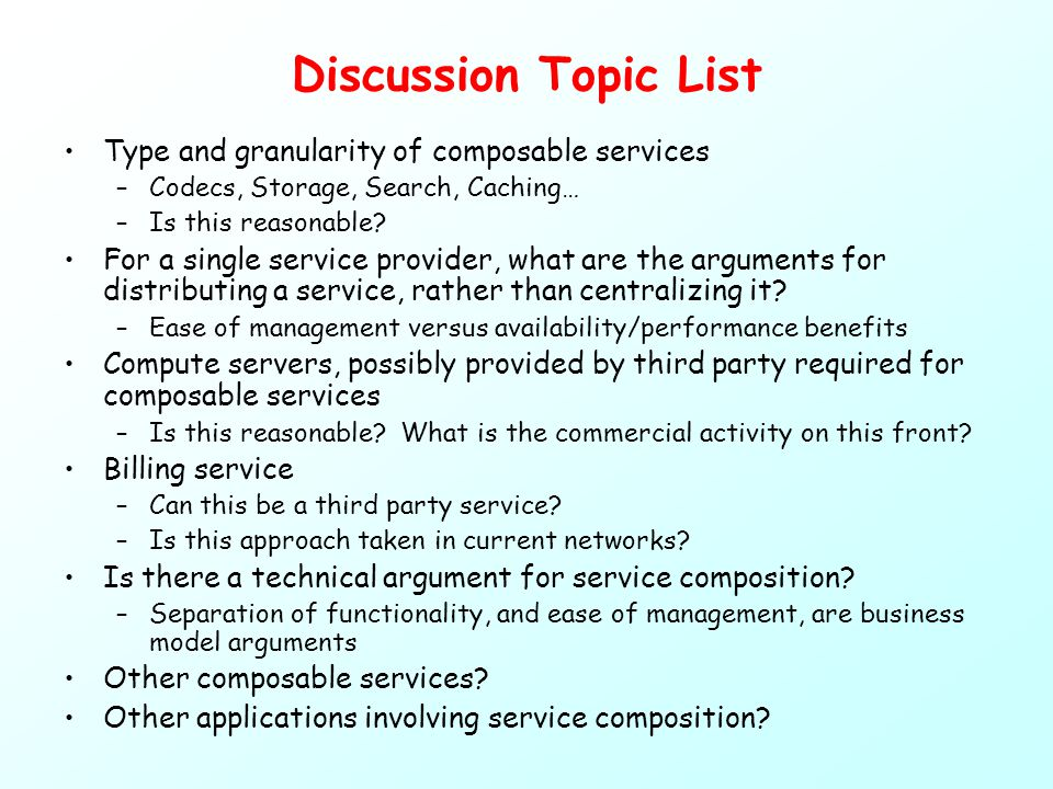 Discussion Topic List Type and granularity of composable services –Codecs, Storage, Search, Caching… –Is this reasonable.
