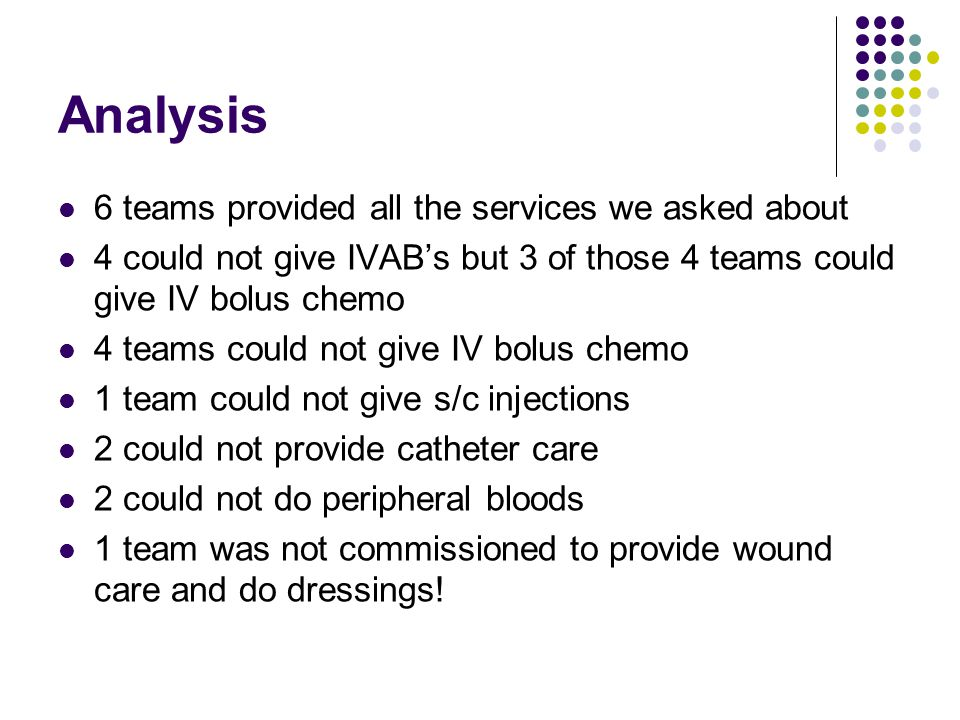 Analysis 6 teams provided all the services we asked about 4 could not give IVAB's but 3 of those 4 teams could give IV bolus chemo 4 teams could not give IV bolus chemo 1 team could not give s/c injections 2 could not provide catheter care 2 could not do peripheral bloods 1 team was not commissioned to provide wound care and do dressings!