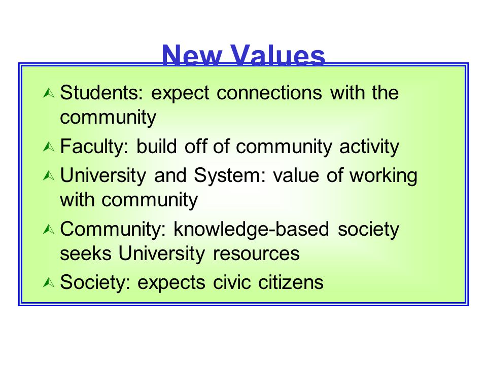 New Values  Students: expect connections with the community  Faculty: build off of community activity  University and System: value of working with