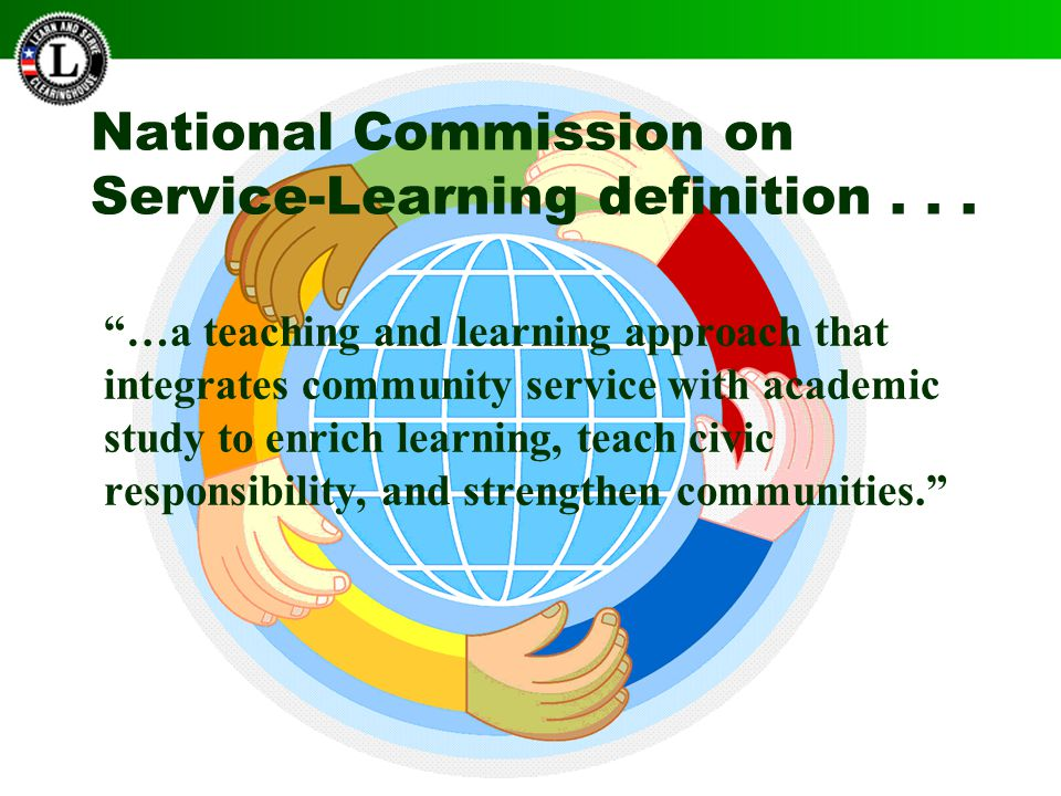 National Commission on Service-Learning definition...
