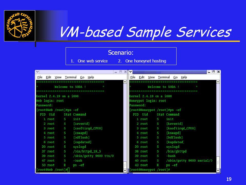 19 VM-based Sample Services Scenario: 1. One web service 2. One honeynet hosting