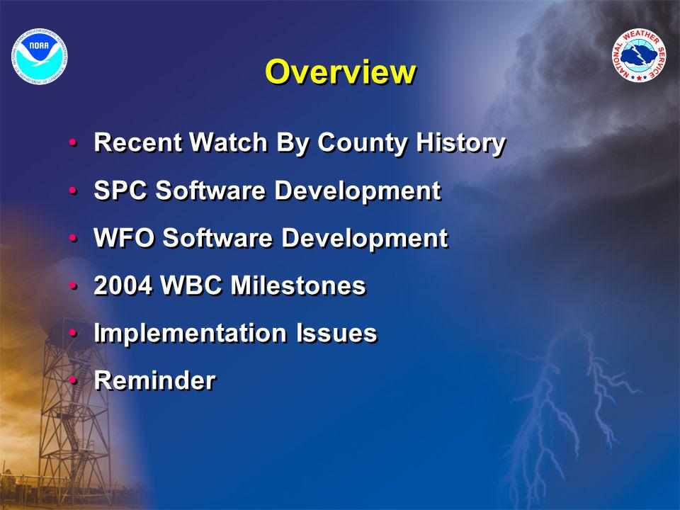 Overview Recent Watch By County History SPC Software Development WFO Software Development 2004 WBC Milestones Implementation Issues Reminder Recent Watch By County History SPC Software Development WFO Software Development 2004 WBC Milestones Implementation Issues Reminder