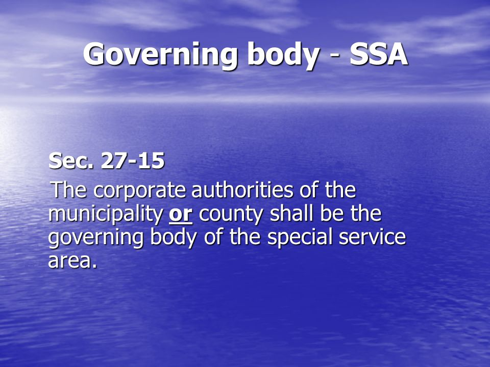 Establishing a SSA Sec.27 ‑ 20 Sec.