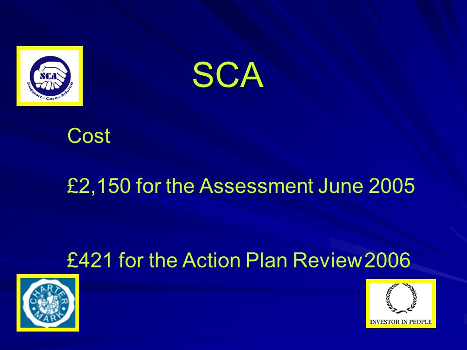SCA Cost £2,150 for the Assessment June 2005 £421 for the Action Plan Review 2006