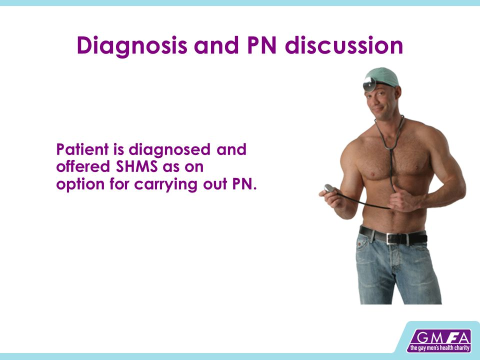 Diagnosis and PN discussion Patient is diagnosed and offered SHMS as on option for carrying out PN.