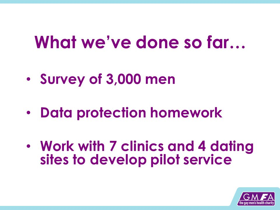 What we've done so far… Survey of 3,000 men Data protection homework Work with 7 clinics and 4 dating sites to develop pilot service