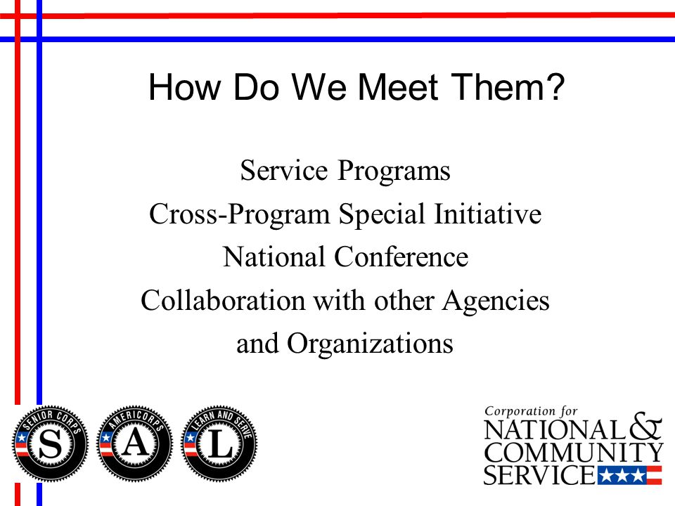 Service Programs Cross-Program Special Initiative National Conference Collaboration with other Agencies and Organizations How Do We Meet Them