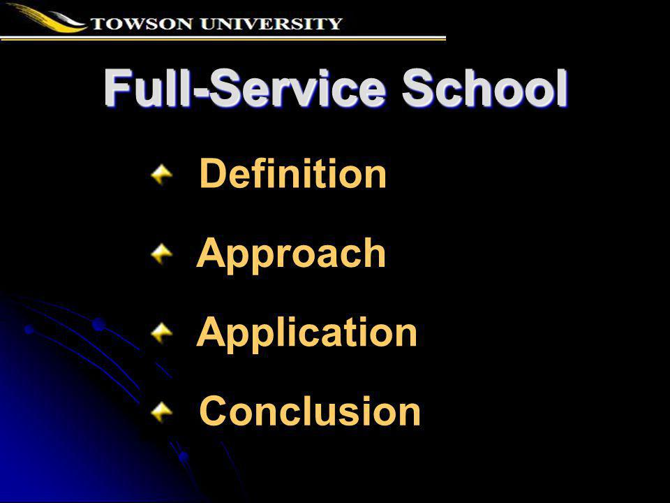 Definition A full-service school (FSS) integrates education, medical, social and/or human services that are beneficial to meeting the needs of children and youth and their families on school grounds or in locations that are easily accessible.