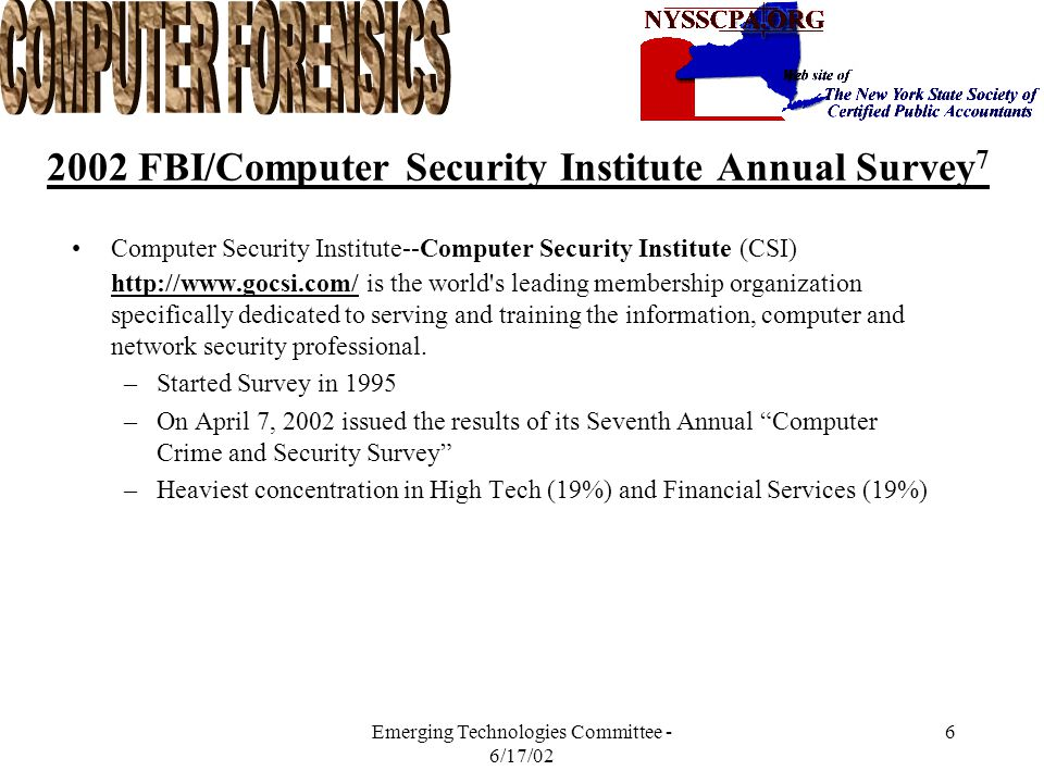 Emerging Technologies Committee - 6/17/02 5 Evolution of Fraud Evolution of the Internet has opened up the flood gates in the way of access to personal and business information.