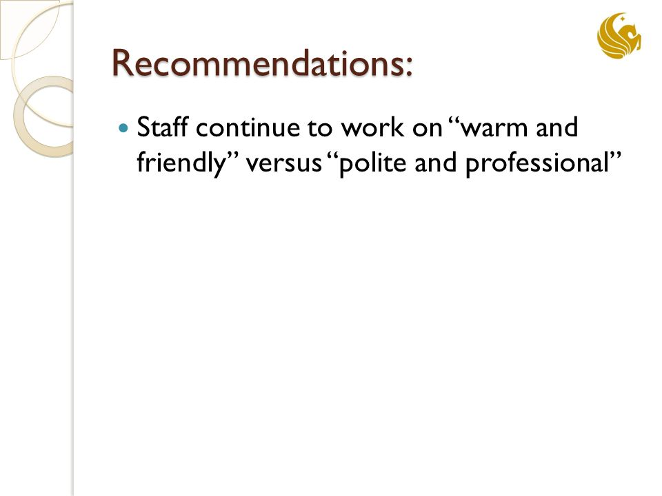 Recommendations: Staff continue to work on warm and friendly versus polite and professional