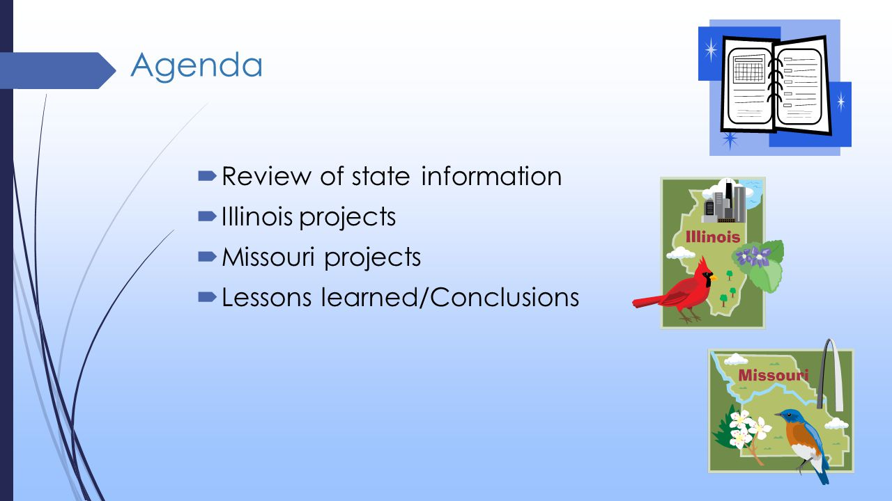 Agenda  Review of state information  Illinois projects  Missouri projects  Lessons learned/Conclusions