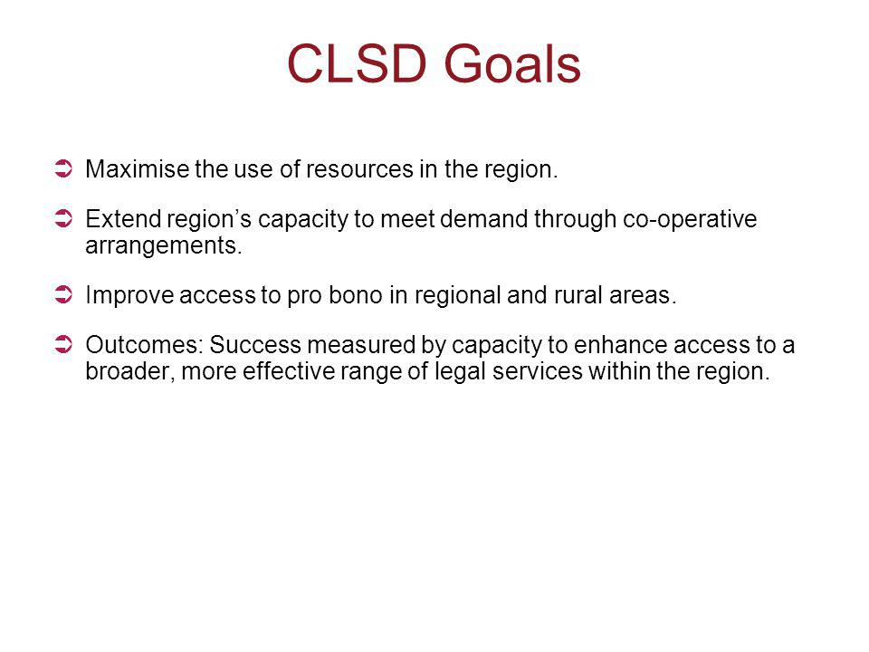 CLSD Goals  Maximise the use of resources in the region.