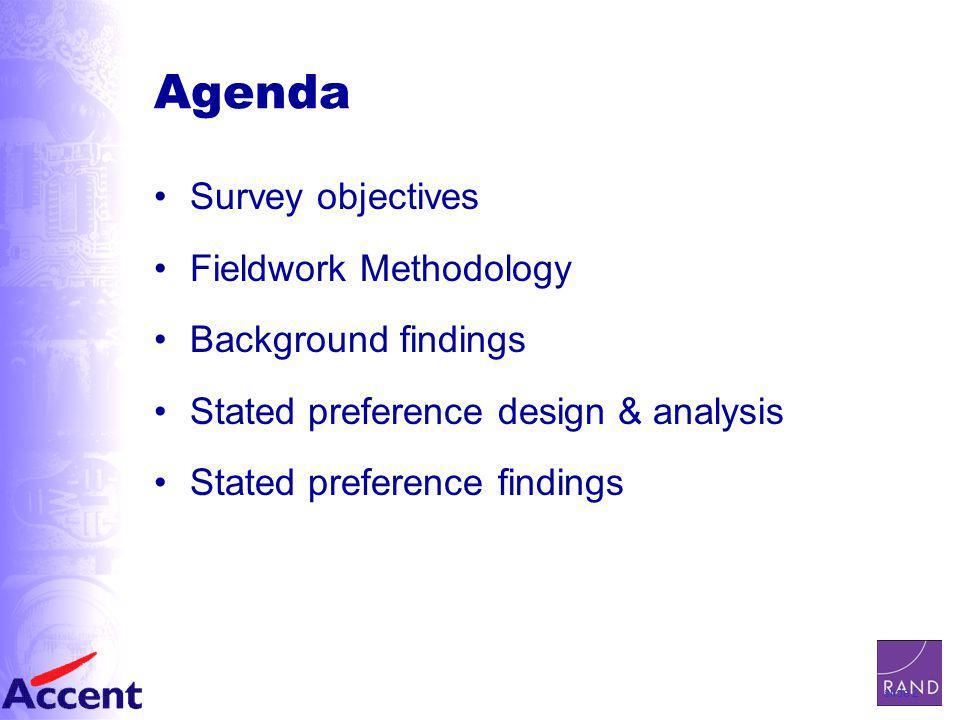 slide 2 Agenda Survey objectives Fieldwork Methodology Background findings Stated preference design & analysis Stated preference findings