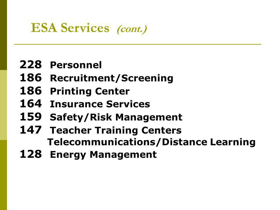 ESA Services (cont.) 228 Personnel 186 Recruitment/Screening 186 Printing Center 164 Insurance Services 159 Safety/Risk Management 147 Teacher Training Centers Telecommunications/Distance Learning 128 Energy Management