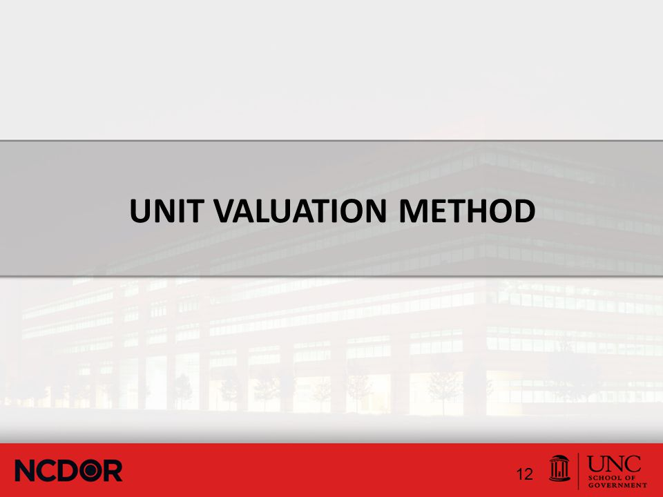 UNIT VALUATION METHOD 12