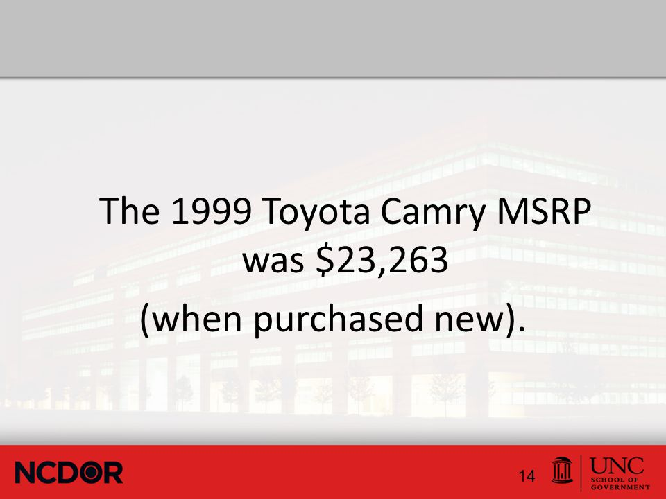 The 1999 Toyota Camry MSRP was $23,263 (when purchased new). 14