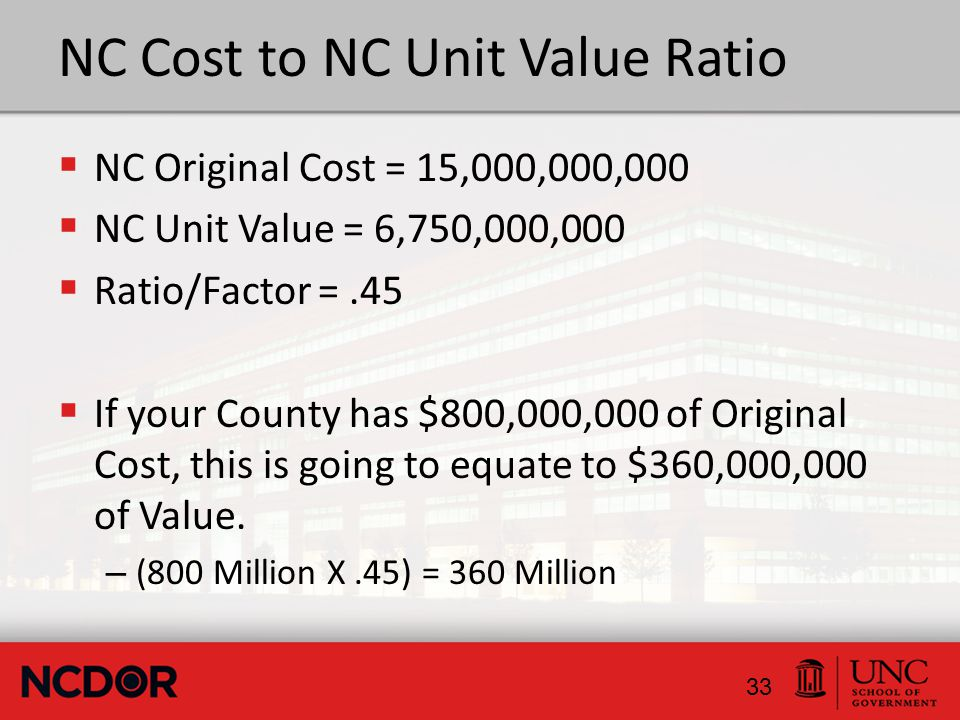 NC Cost to NC Unit Value Ratio  NC Original Cost = 15,000,000,000  NC Unit Value = 6,750,000,000  Ratio/Factor =.45  If your County has $800,000,000 of Original Cost, this is going to equate to $360,000,000 of Value.