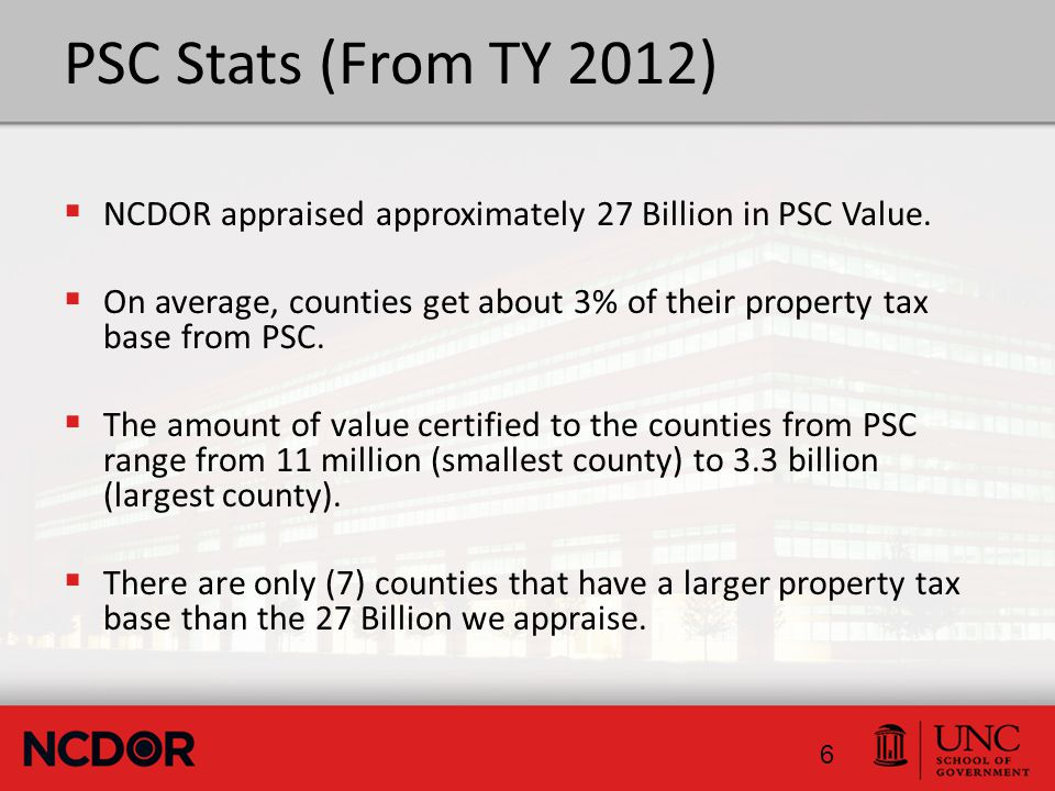 Nonsystem Property - (Unit PSC) NCGS 105-333(12) – All Property owned by a PSC but not used in Public Service activities.