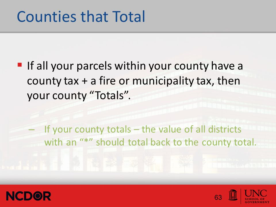 Counties that Total  If all your parcels within your county have a county tax + a fire or municipality tax, then your county Totals .