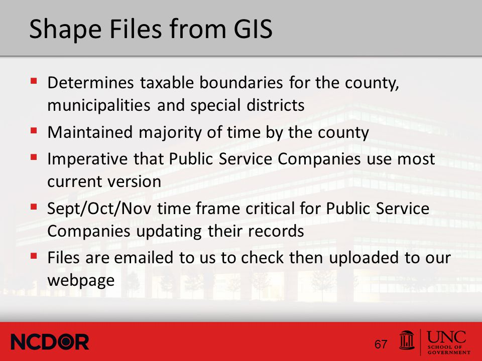 Shape Files from GIS  Determines taxable boundaries for the county, municipalities and special districts  Maintained majority of time by the county  Imperative that Public Service Companies use most current version  Sept/Oct/Nov time frame critical for Public Service Companies updating their records  Files are emailed to us to check then uploaded to our webpage 67