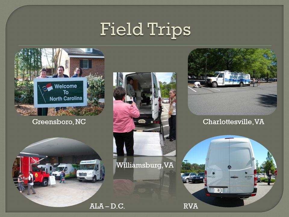 Greensboro, NC Williamsburg, VA Charlottesville, VA ALA – D.C.RVA
