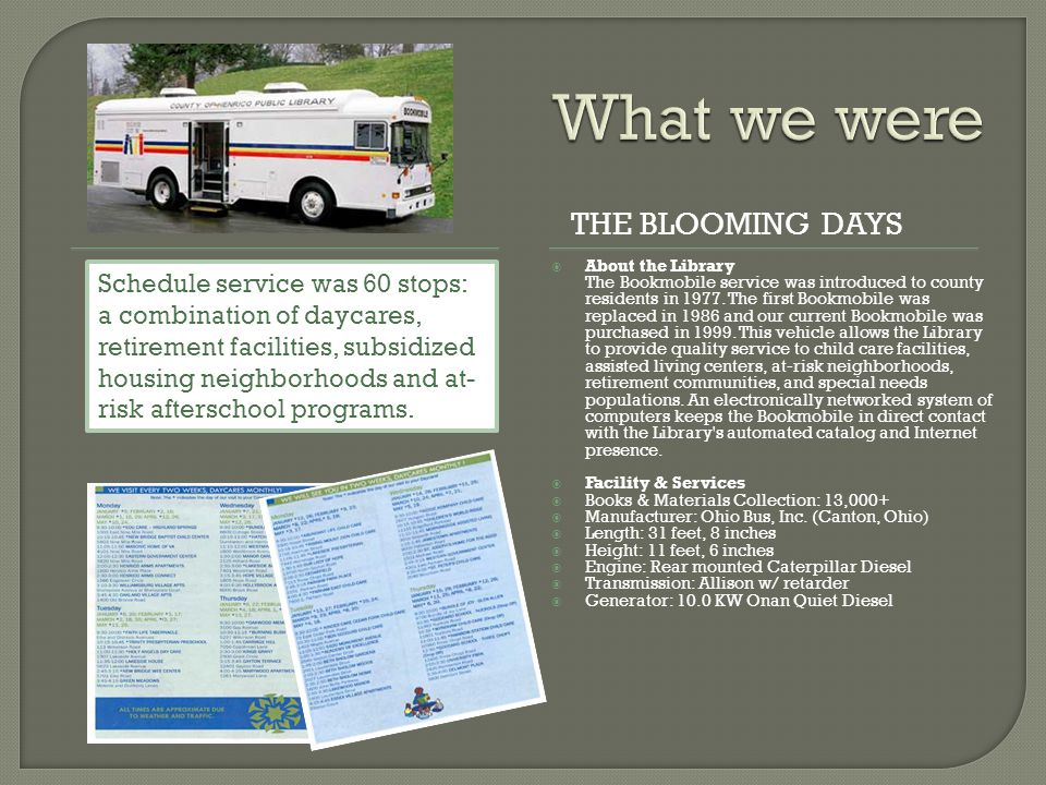 THE BLOOMING DAYS  About the Library The Bookmobile service was introduced to county residents in 1977.