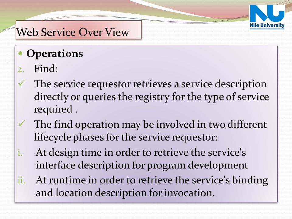 Operations 2. Find: The service requestor retrieves a service description directly or queries the registry for the type of service required. The find