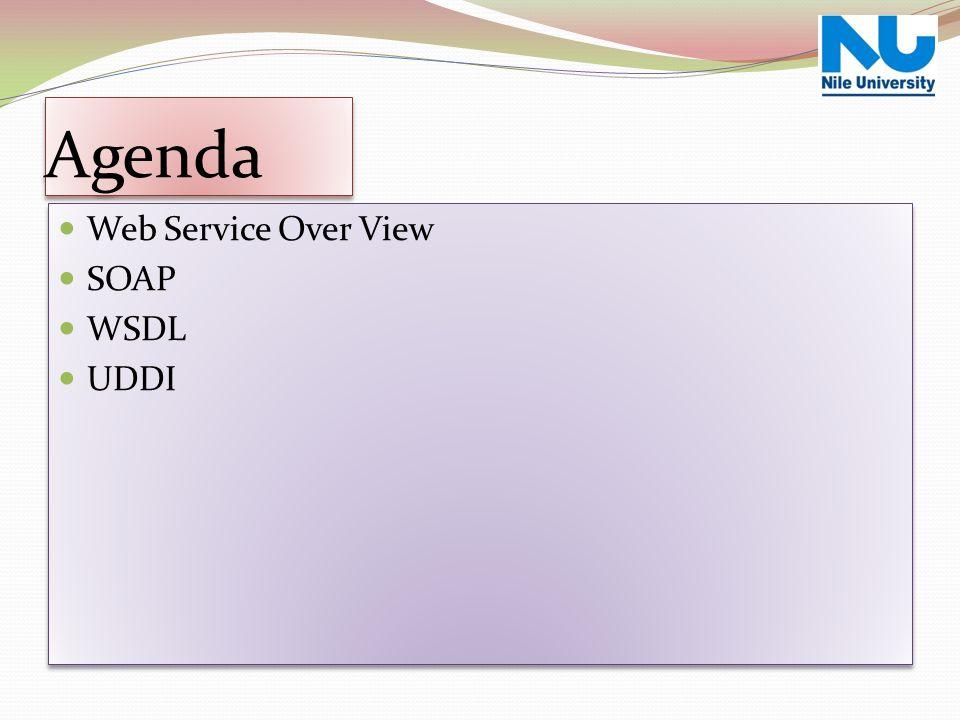 Agenda Web Service Over View SOAP WSDL UDDI Web Service Over View SOAP WSDL UDDI