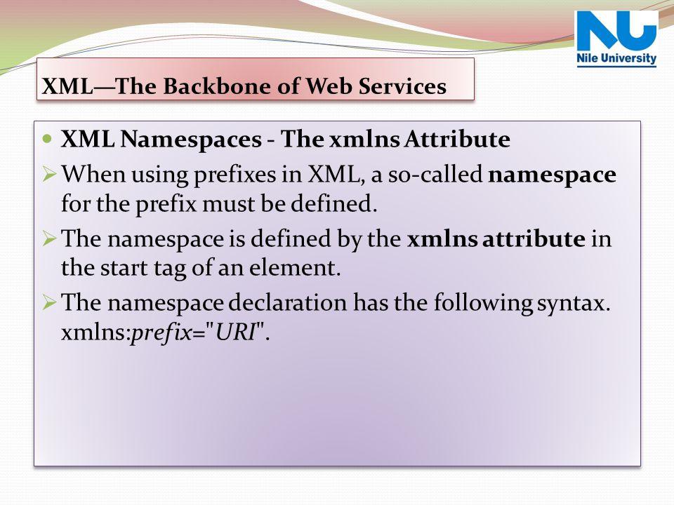 XML—The Backbone of Web Services XML Namespaces - The xmlns Attribute  When using prefixes in XML, a so-called namespace for the prefix must be defin