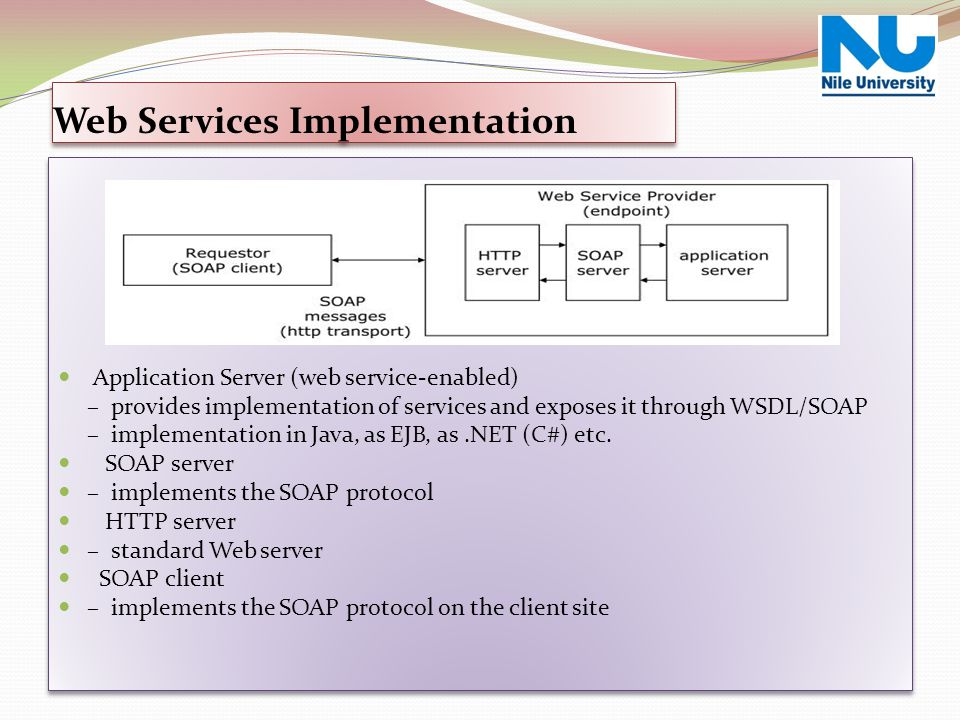 Application Server (web service-enabled) – provides implementation of services and exposes it through WSDL/SOAP – implementation in Java, as EJB, as.N
