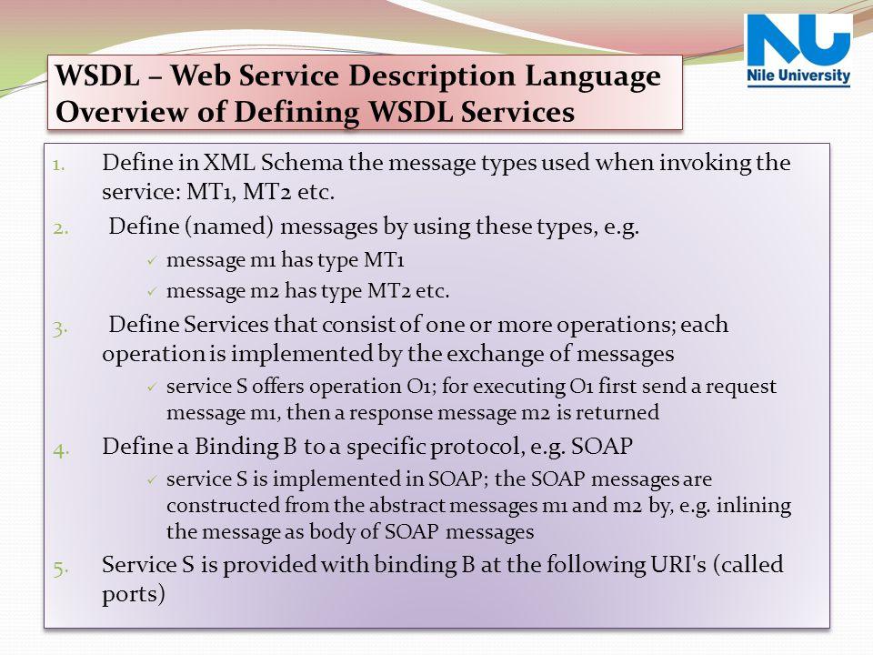 1. Define in XML Schema the message types used when invoking the service: MT1, MT2 etc. 2. Define (named) messages by using these types, e.g. message