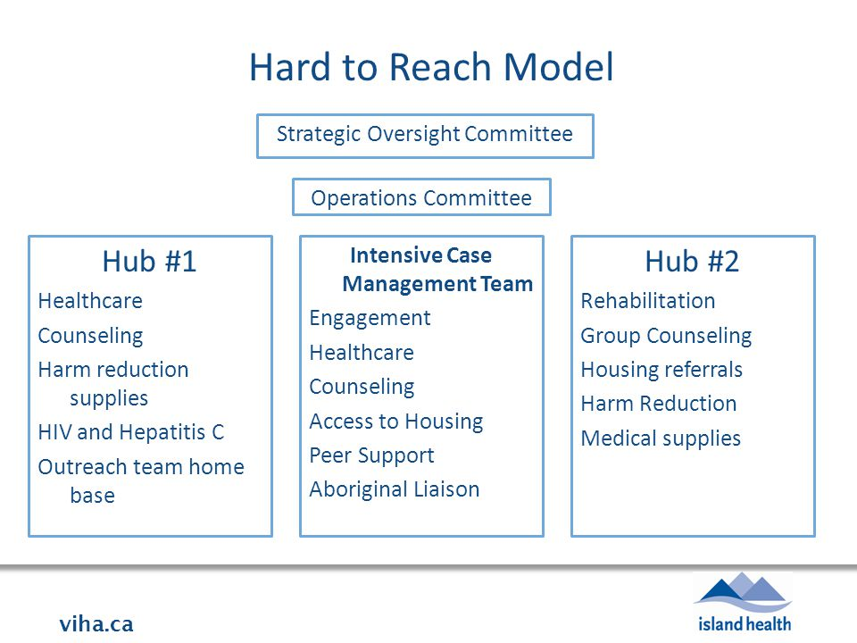 viha.ca Hard to Reach Model Strategic Oversight Committee Operations Committee Hub #1 Healthcare Counseling Harm reduction supplies HIV and Hepatitis C Outreach team home base Intensive Case Management Team Engagement Healthcare Counseling Access to Housing Peer Support Aboriginal Liaison Hub #2 Rehabilitation Group Counseling Housing referrals Harm Reduction Medical supplies