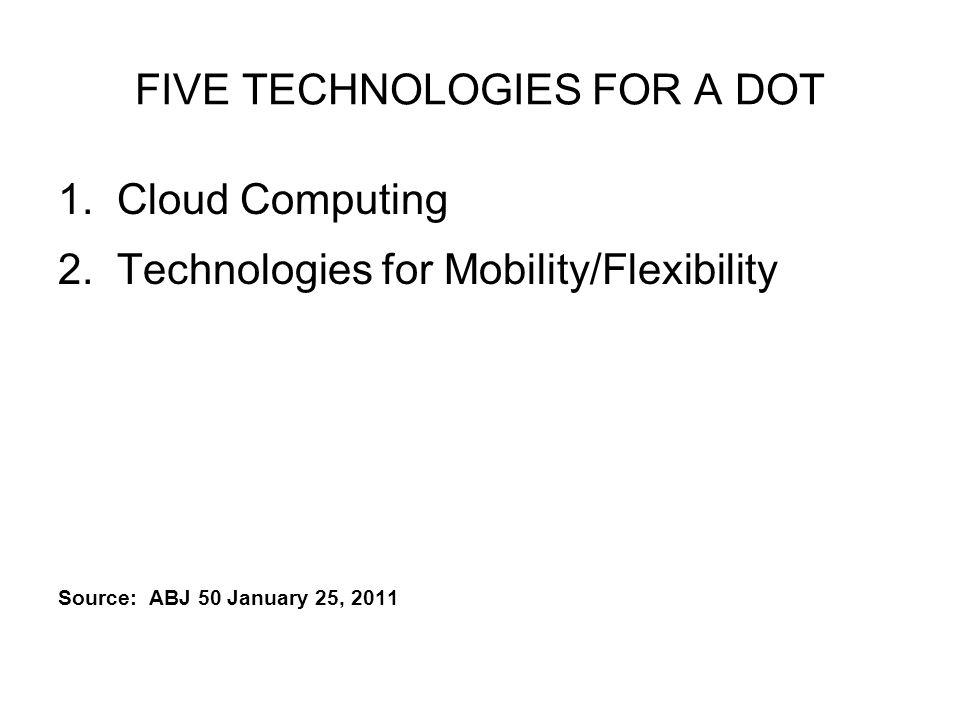 FIVE TECHNOLOGIES FOR A DOT 1. Cloud Computing 2.