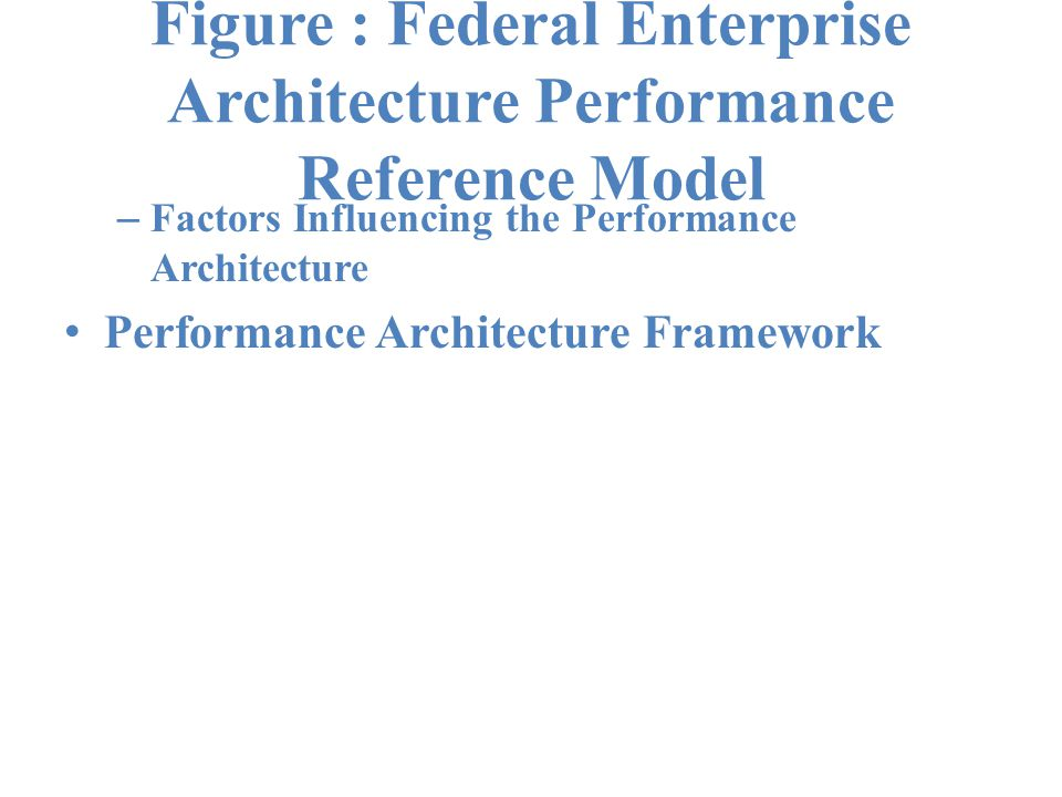 Figure : Federal Enterprise Architecture Performance Reference Model – Factors Influencing the Performance Architecture Performance Architecture Framework