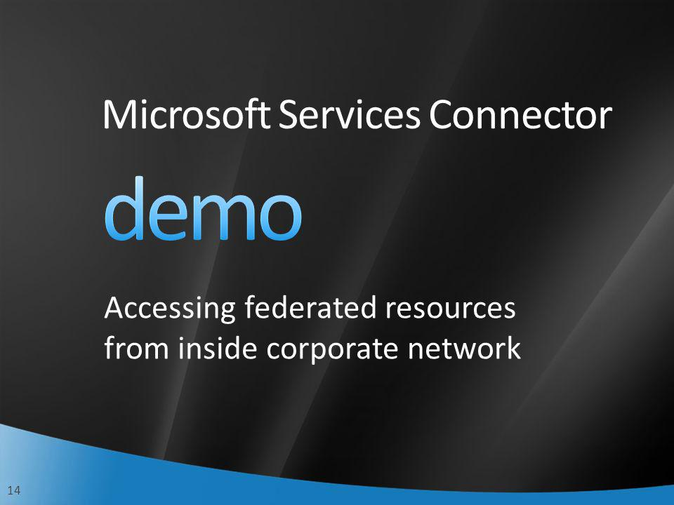 14 Accessing federated resources from inside corporate network Microsoft Services Connector
