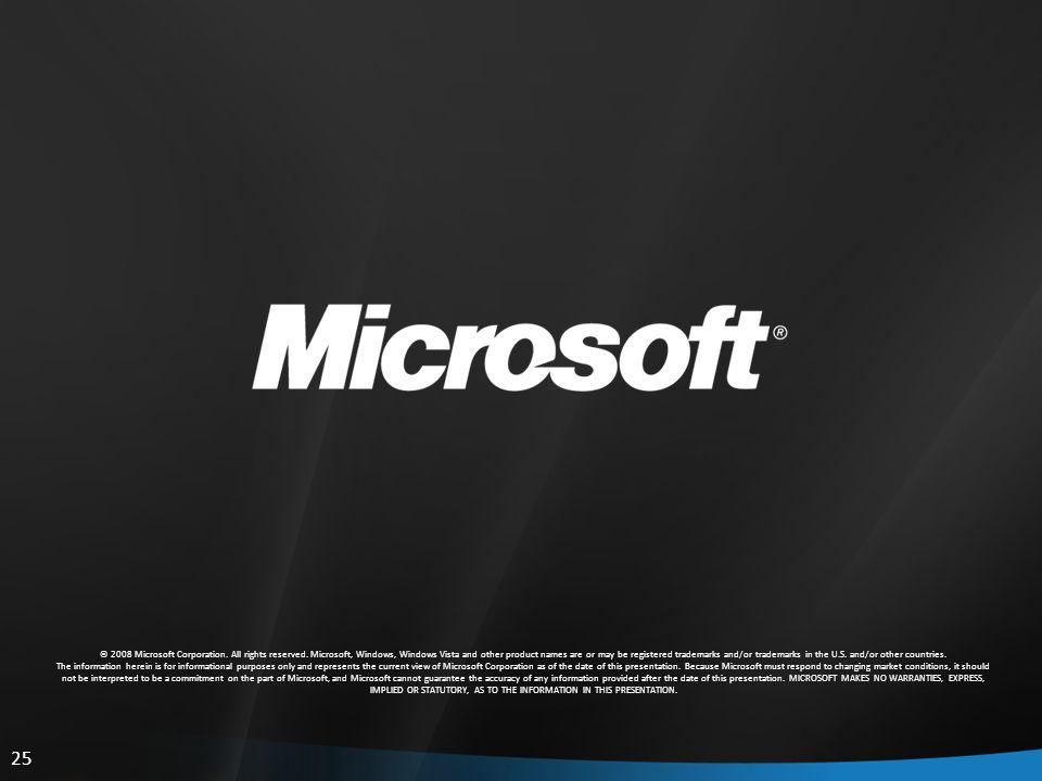 25 © 2008 Microsoft Corporation. All rights reserved.