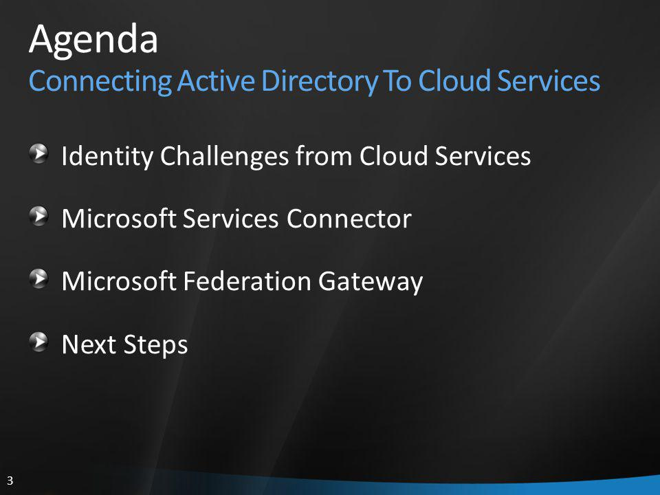 3 Agenda Connecting Active Directory To Cloud Services Identity Challenges from Cloud Services Microsoft Services Connector Microsoft Federation Gateway Next Steps